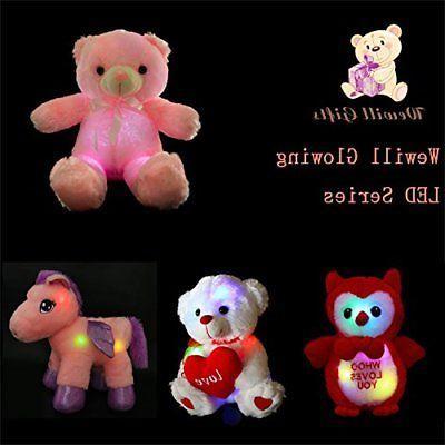 LED Inductive Teddy Animals Plush LED Lighting Pink