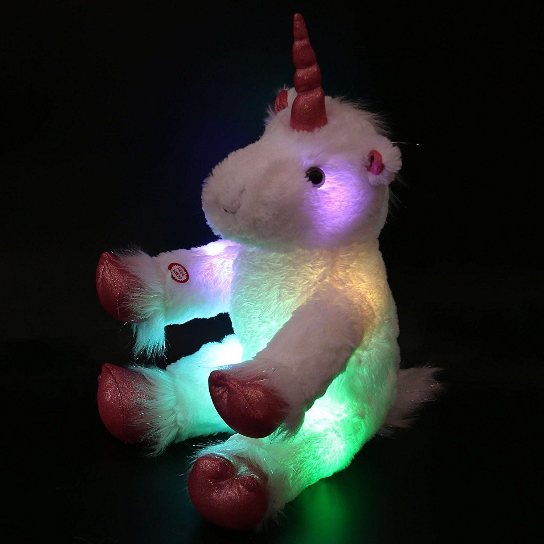 """LED Stuffed Unicorn Mystical Plush Animal Large 16"""" Kids Nig"""