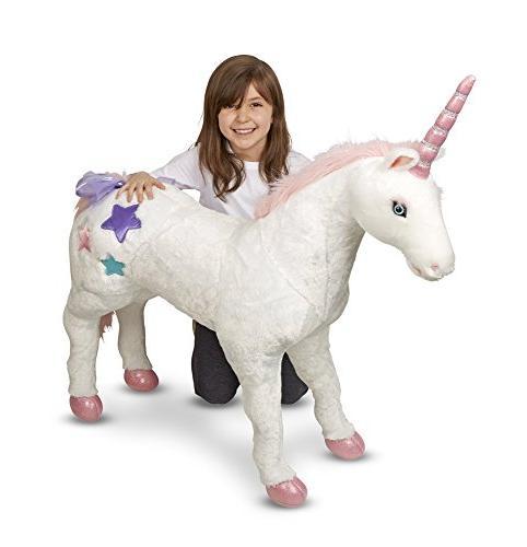 "Melissa Doug Giant Unicorn, Animals & Play Toys, Construction, Plush Fur, 32"" x 45"" L"