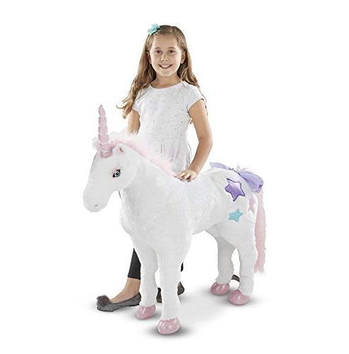 "Melissa & Unicorn, Stuffed Play Construction, Pure White Fur, H 45"" W 12"" L"