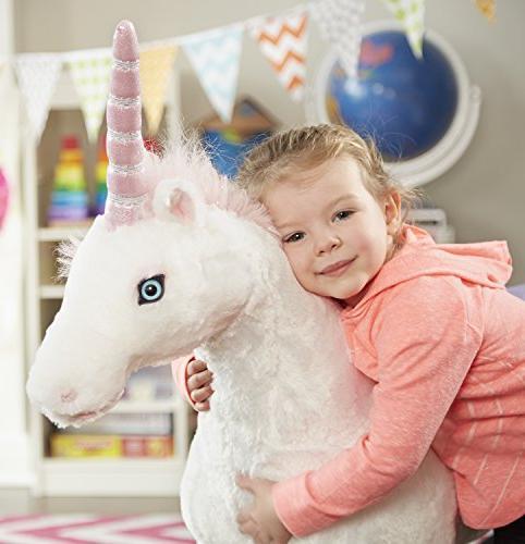 "Melissa & Unicorn, Stuffed Animals Play Toys, Sturdy Construction, Pure White Fur, x 45"" 12"" L"