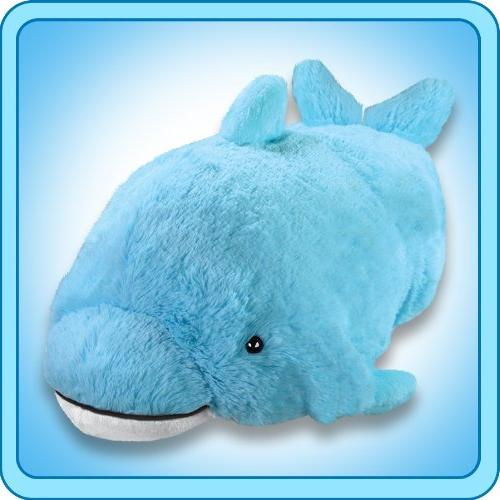 """Pillow Pets Squeaky Dolphin Blue Small 11"""" Plush New"""