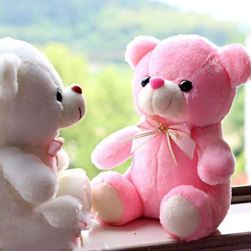 Pink LED Flash Teddy Bear Stuffed Animals Plush Soft Hug Toy Baby Kids Gift New