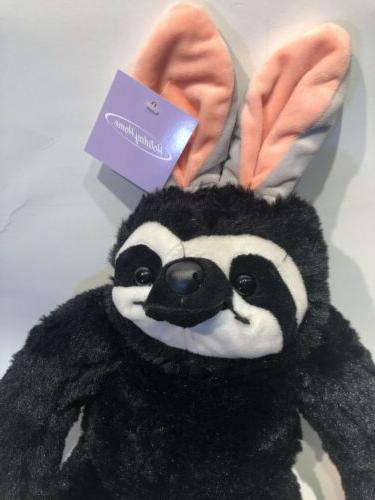 Plush Sloth Animal Easter Basket Ears BLACK