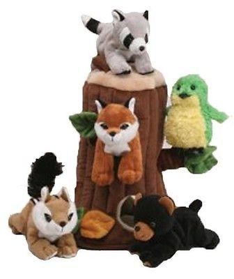 Plush TreeHouse Stuffed Forest 5 Animals Log Squirel Bear Fo