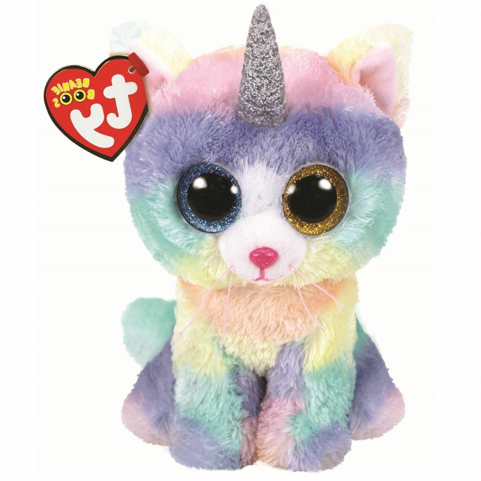 "TY Beanie Boos 6"" HEATHER Cat Unicorn UniCat Plush Stuffed A"