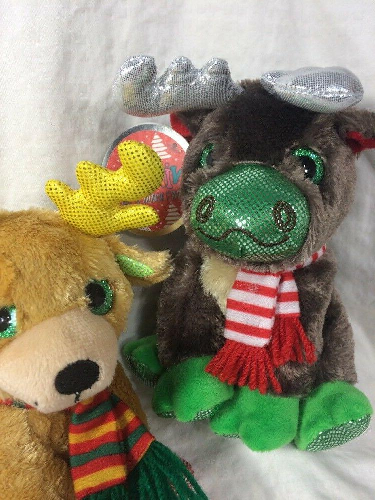 Winkeez Plush Mittens Ribbon Reindeer 2 Holiday animals