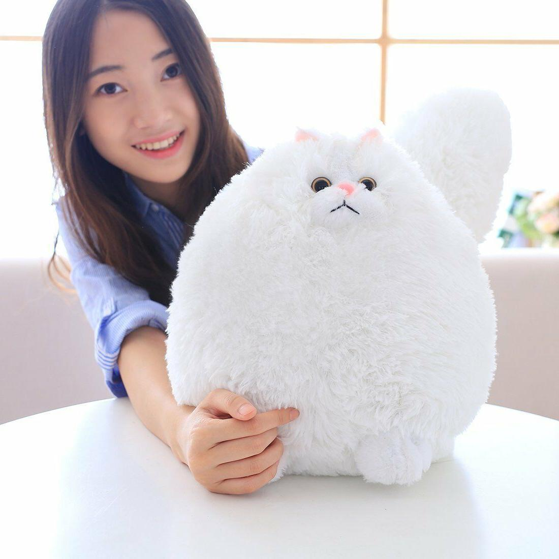 Winsterch Stuffed Animal Doll,White Cat Plush,11.8''