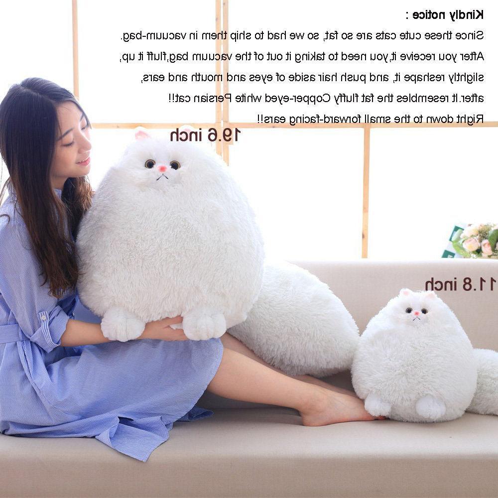 Winsterch Stuffed Animal Toys Animal Baby Doll,White Cat