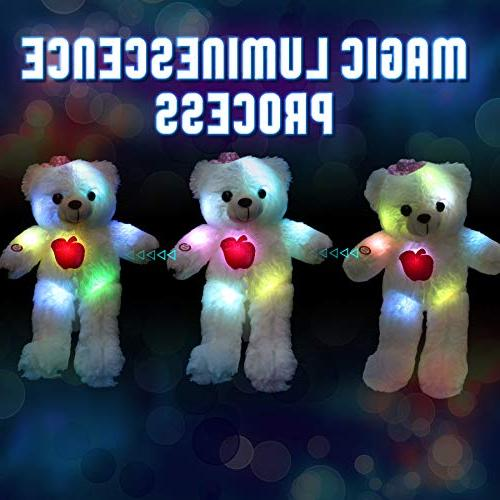 WEWILL LED Teddy Stuffed Animals Light up Soft Plush Colorful , Stuffed Gifts 15-Inch