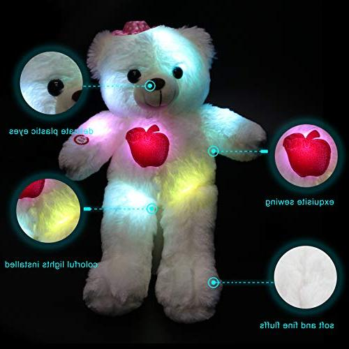 WEWILL LED Stuffed Animals Soft Toys with Colorful LED , Animal Gifts for Mother's 15-Inch