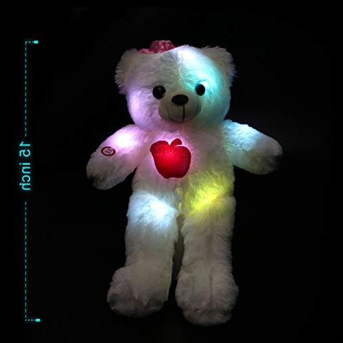WEWILL LED Bear Stuffed Soft Toys Colorful LED Lights , Animal Gifts for 15-Inch