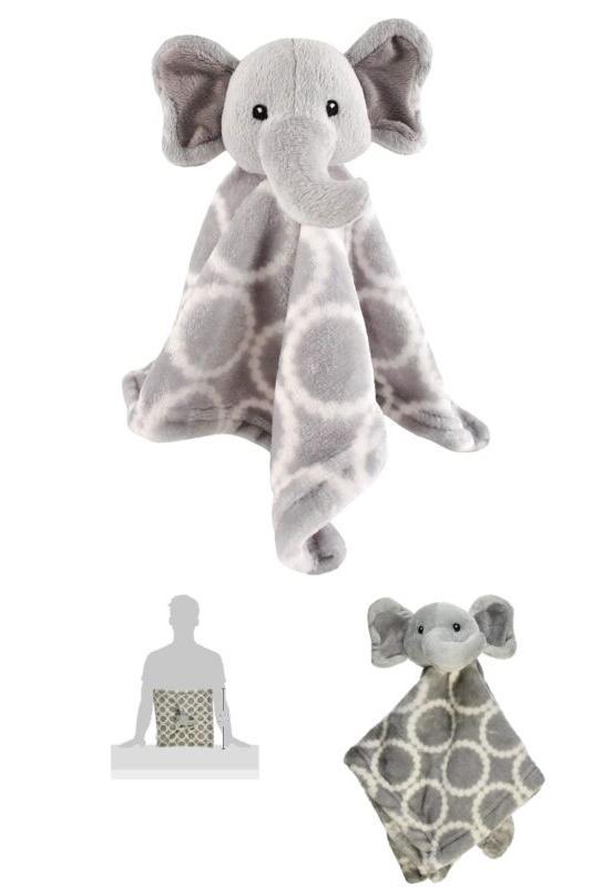 animal friend plushy security blanket gray elephant
