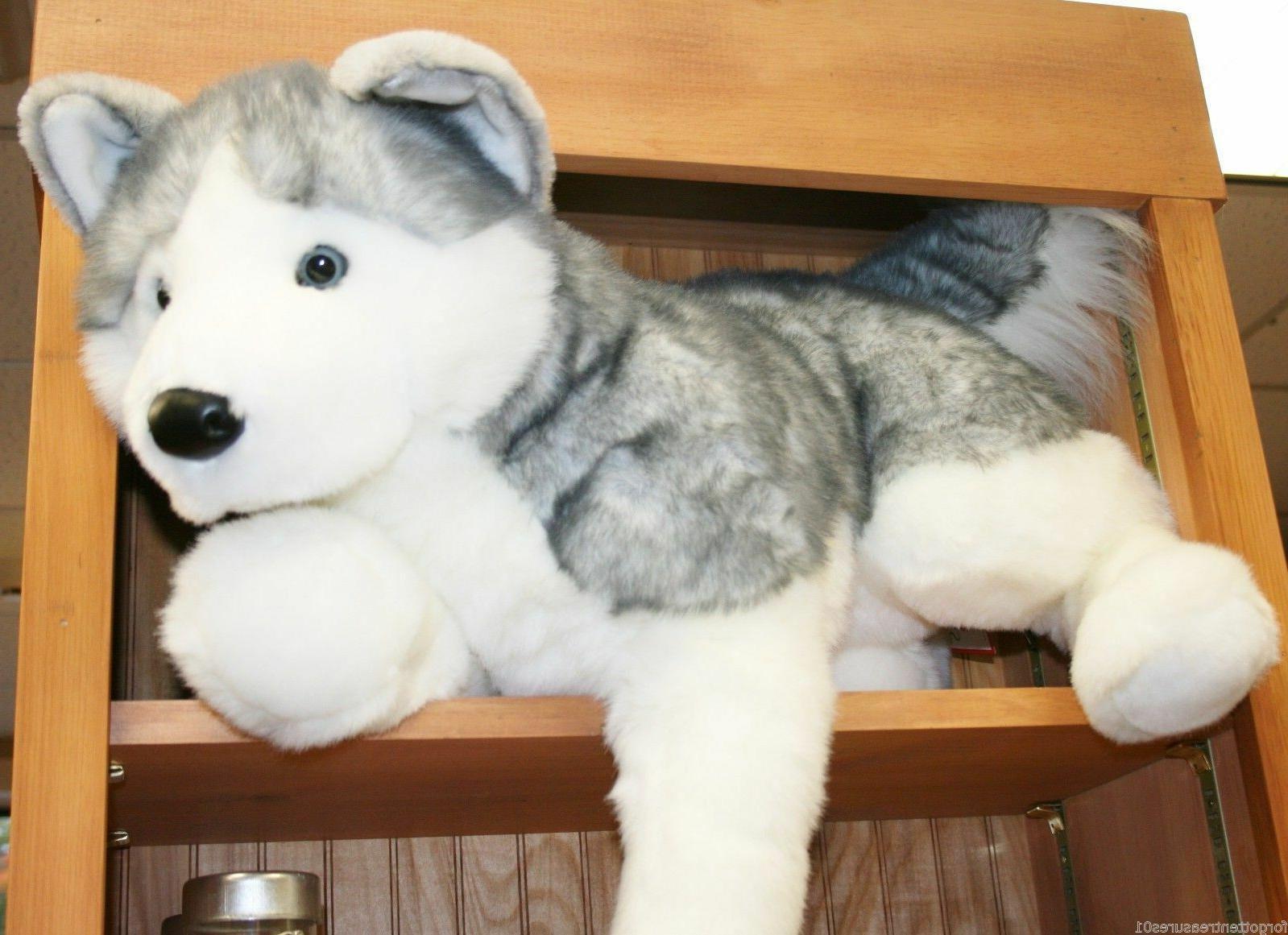 "BARKER plush 30"" LARGE HUSKY stuffed animal DOG by Douglas l"