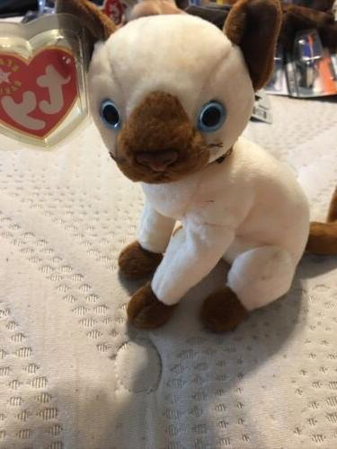 TY Beanie Baby - SIAM the Siamese Cat  - MWMTs Stuffed Anima
