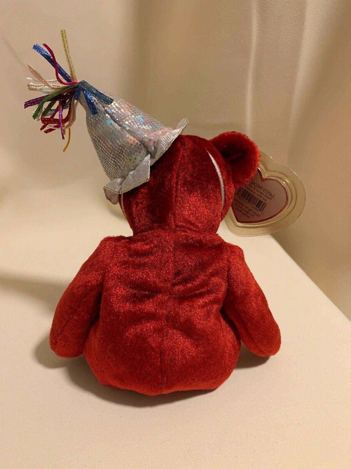 Ty Beanie the Red Bear Stuffed Pristine!