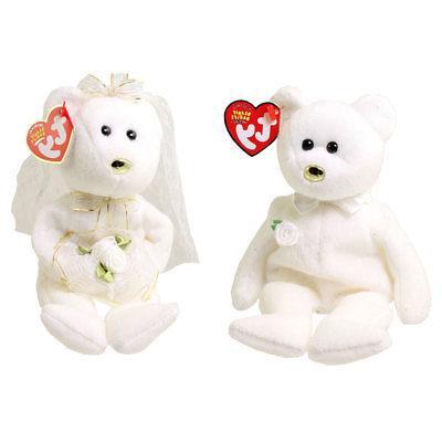 TY Beanie Babies - Set of 2 Wedding Bears  - MWMTs Stuffed A
