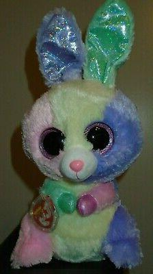 """TY beanie Baby Boos BLOOM THE BUNNY Easter Buddie Med sz 10"""""""