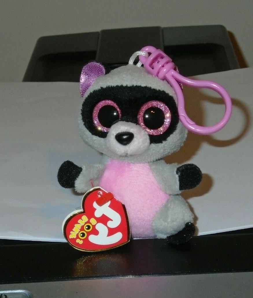New! Ty Beanie Boos ROCCO the Raccoon Key Clip Size