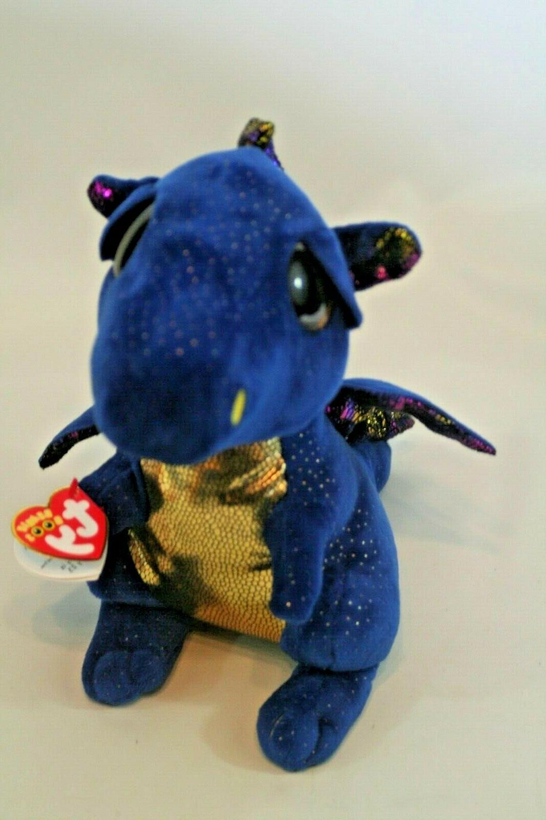 """Ty Beanie Boos """"Saffire"""" Sparkly Blue Dragon Large Gold Eyes"""