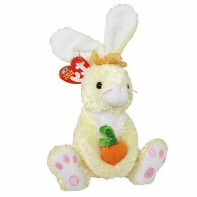 """TY Beanie Baby """"NIBBLIES"""" w/ Carrot EASTER BUNNY RABBIT - MW"""