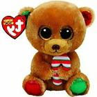 "TY BELLA BEAR W/CANDY CANE 6"" BEANIE BOOS-NEW, MINT TAG*CUTE"
