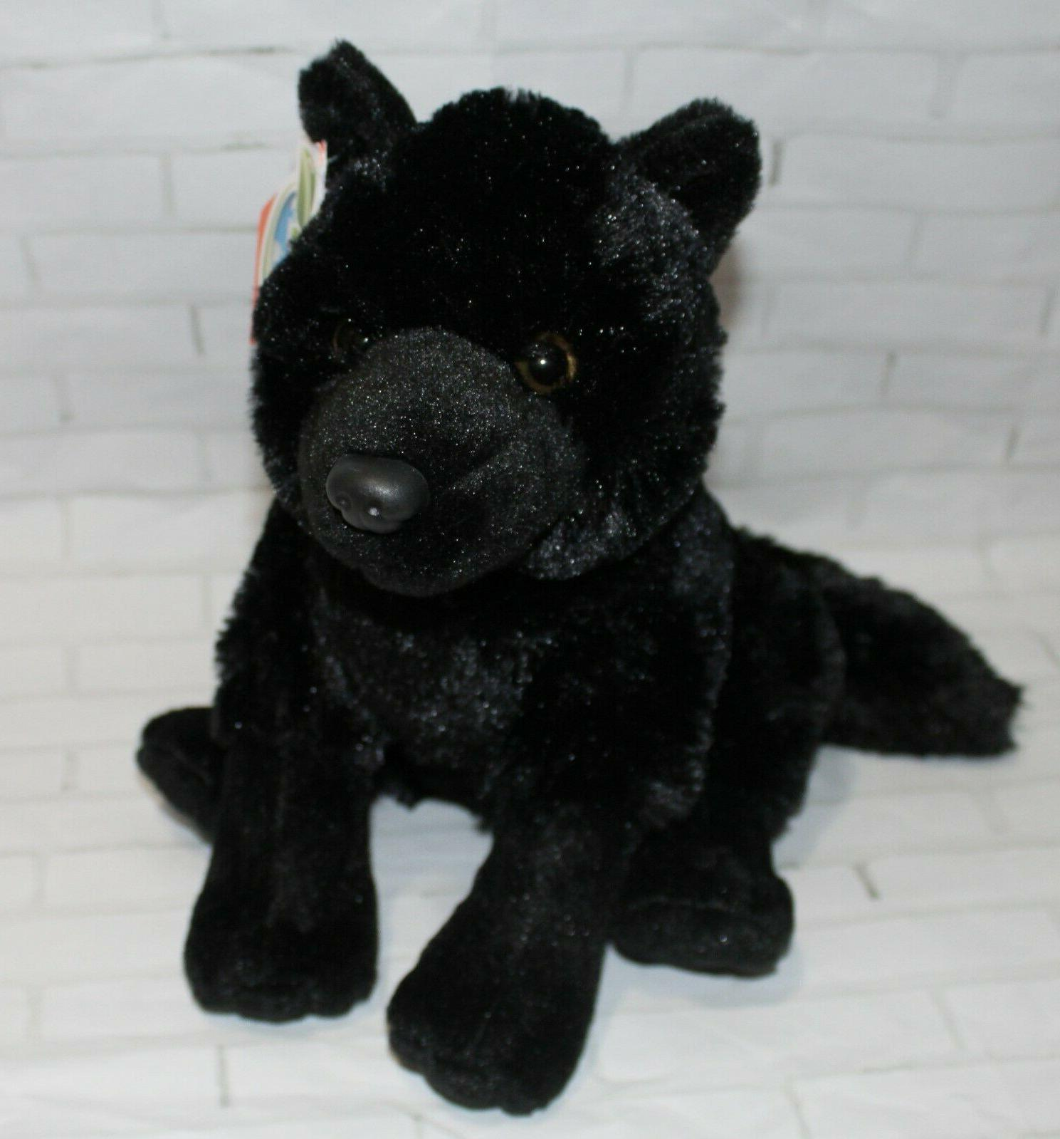"Wild BLACK WOLF 12"" Sitting Plush Stuffed Toy"
