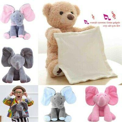 Peek-A-Boo Elephant Bear Stuffed Animals Music Doll Kids Bab