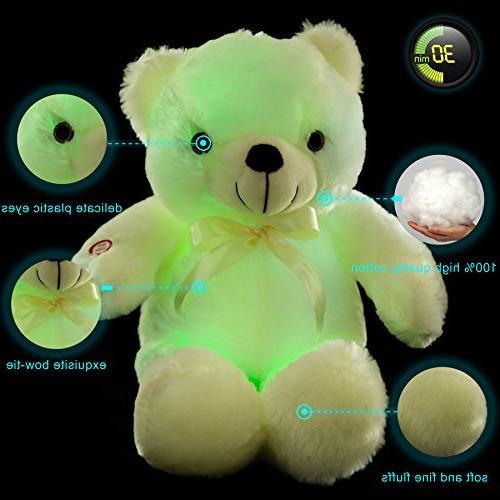 WEWILL LED Teddy Stuffed Colorful GlowingTeddy Bear Kids,