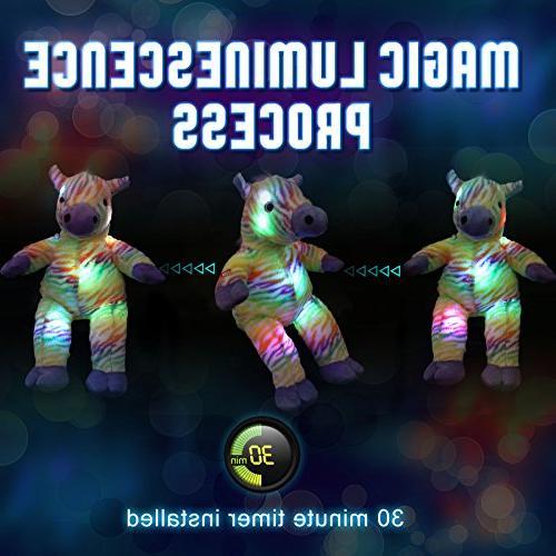 WEWILL Zebra Creative LED Colorful Lifelike Plush Christmas Gift for