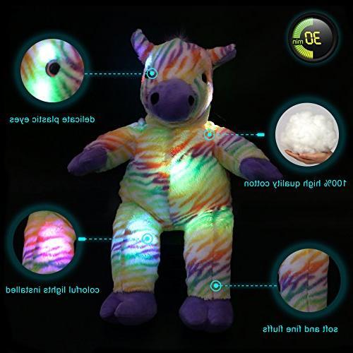 WEWILL Rainbow Zebra Creative Lifelike Plush Christmas Gift for