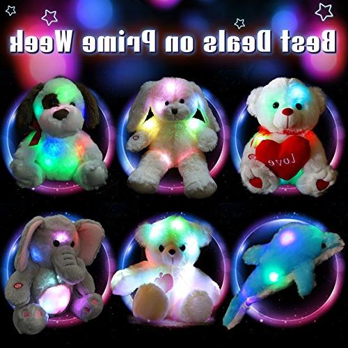 WEWILL Stuffed Soft Plush Toys Colorful LED Lights , Animal Gifts for Day 15-Inch