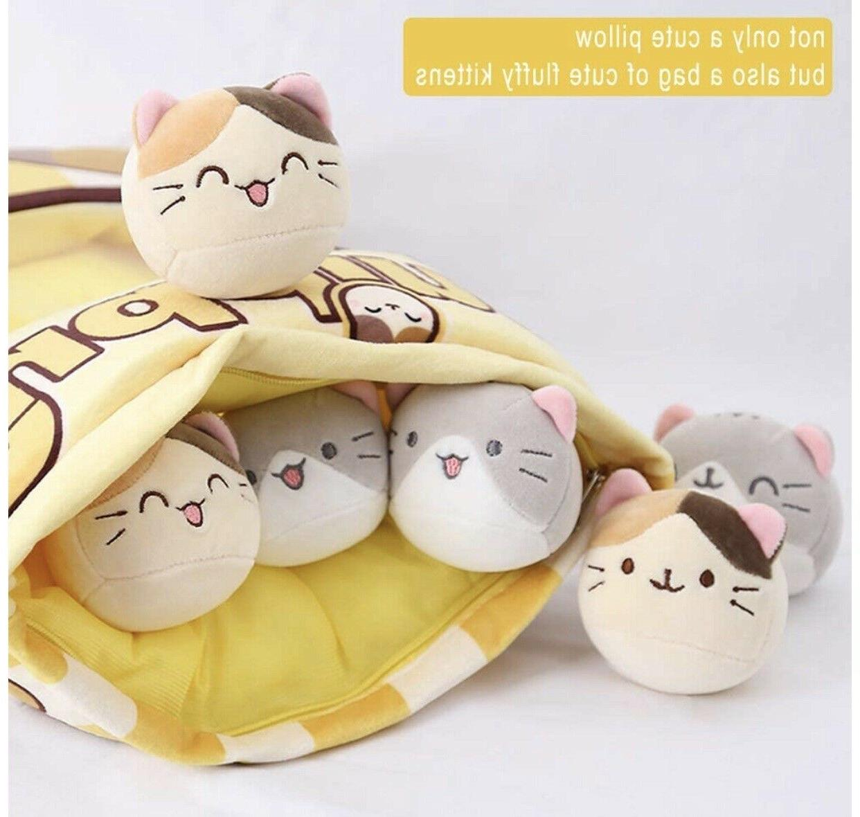 Cute Fluffy Kitty Pillow Bag with of Plushy