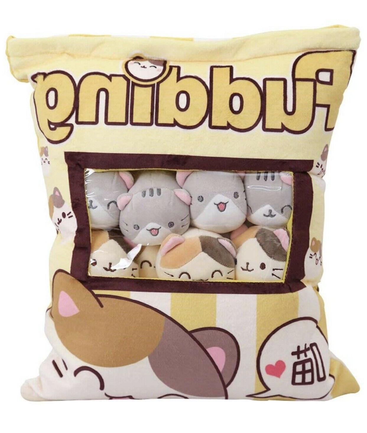 Cute Fluffy Bag with 8 of Plushy