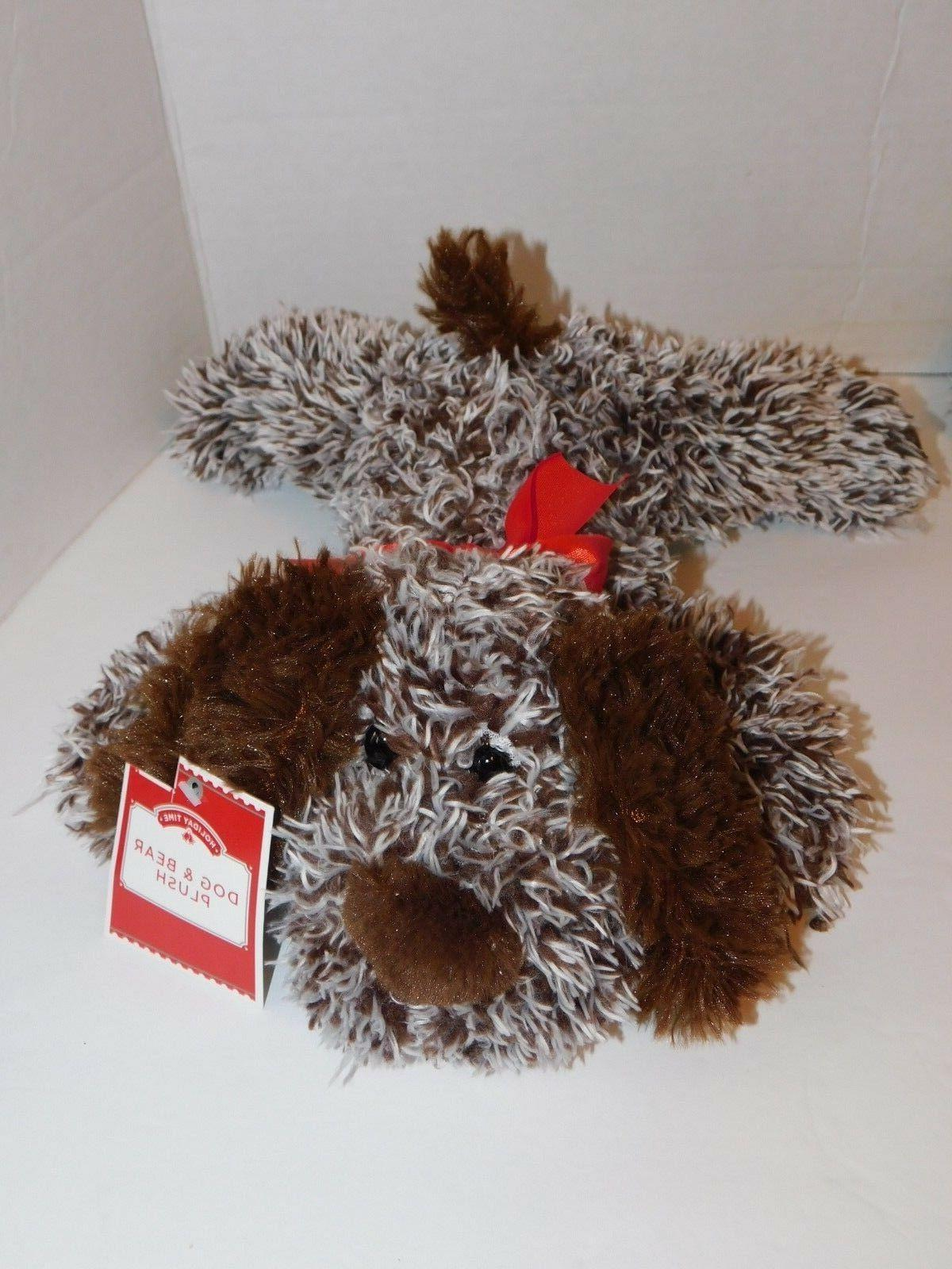 Dog Puppy Stuffed Animals Brown & Gray About 9 in