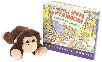 """Five Little Monkeys"" Book Bundle with 8"" Aurora Monkey Stuf"
