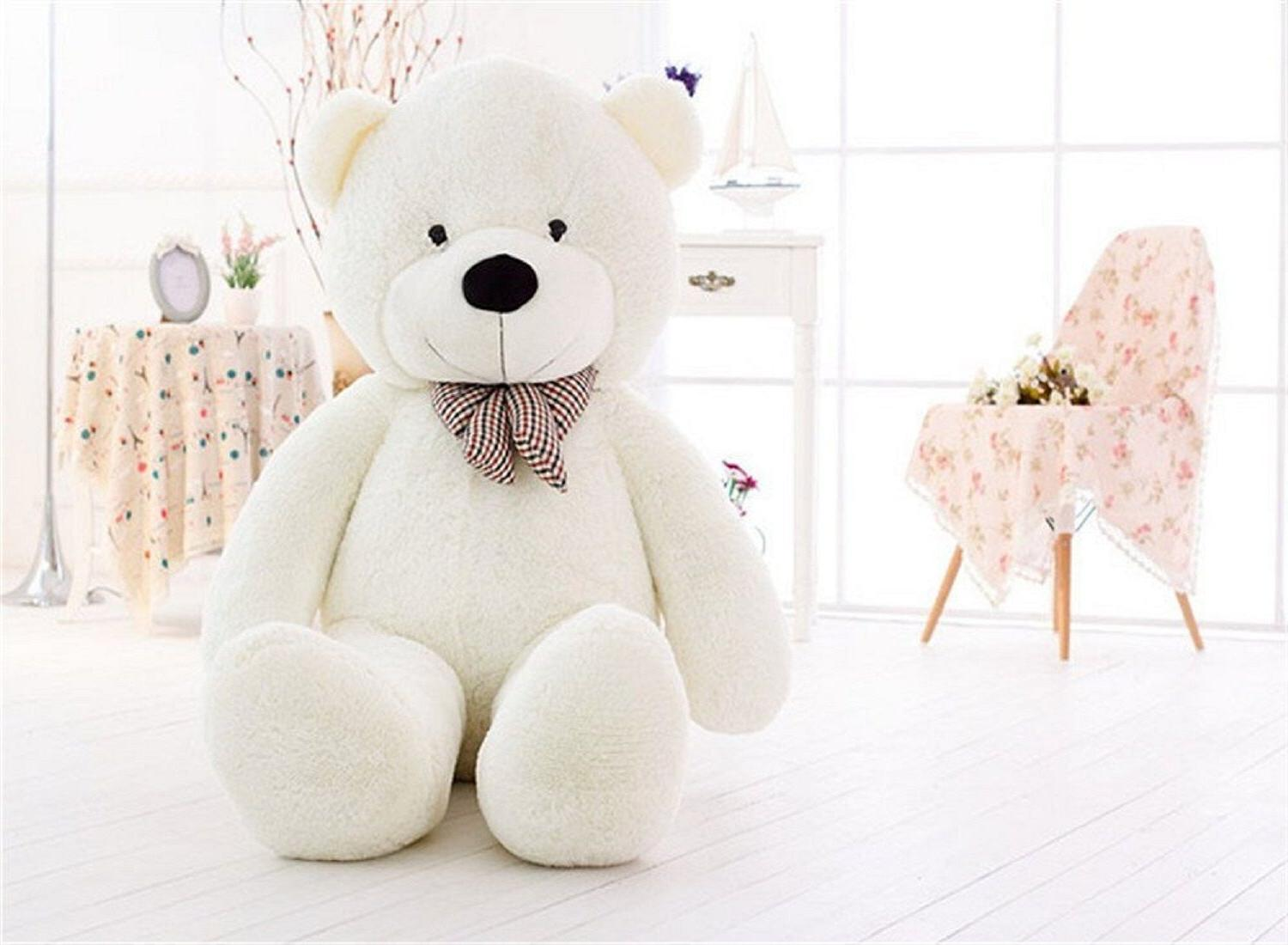 "Giant Teddy Bear 47"" Plush Toy Gift Huge Big White Soft Vale"