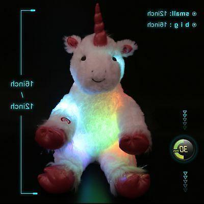 Glow Unicorn LED Stuffed Animal Ultra Soft Plush Gift Teddy Toy