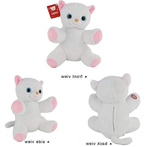WEWILL Cat Stuffed Animals LED Light Up Toys Colorful Lights, Nice Gift Kids White