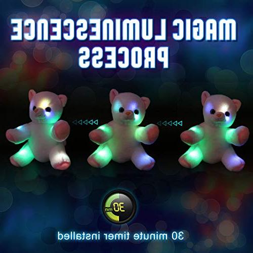 WEWILL Glow Animals Kitty Light Up Soft Toys Colorful Gift for Kids 8-Inch,