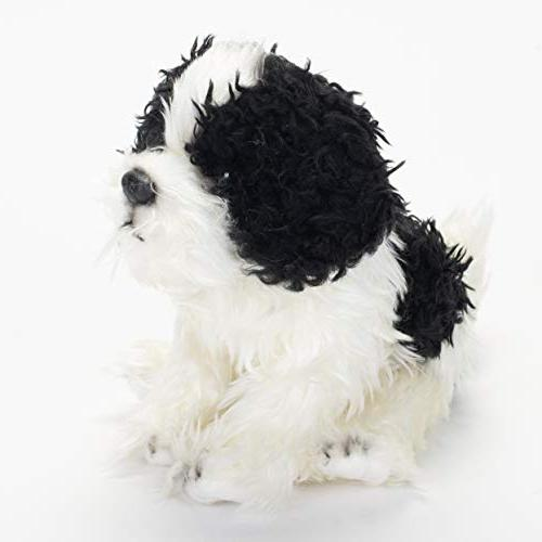 DEMDACO Sitting Small Havanese Dog Black and White