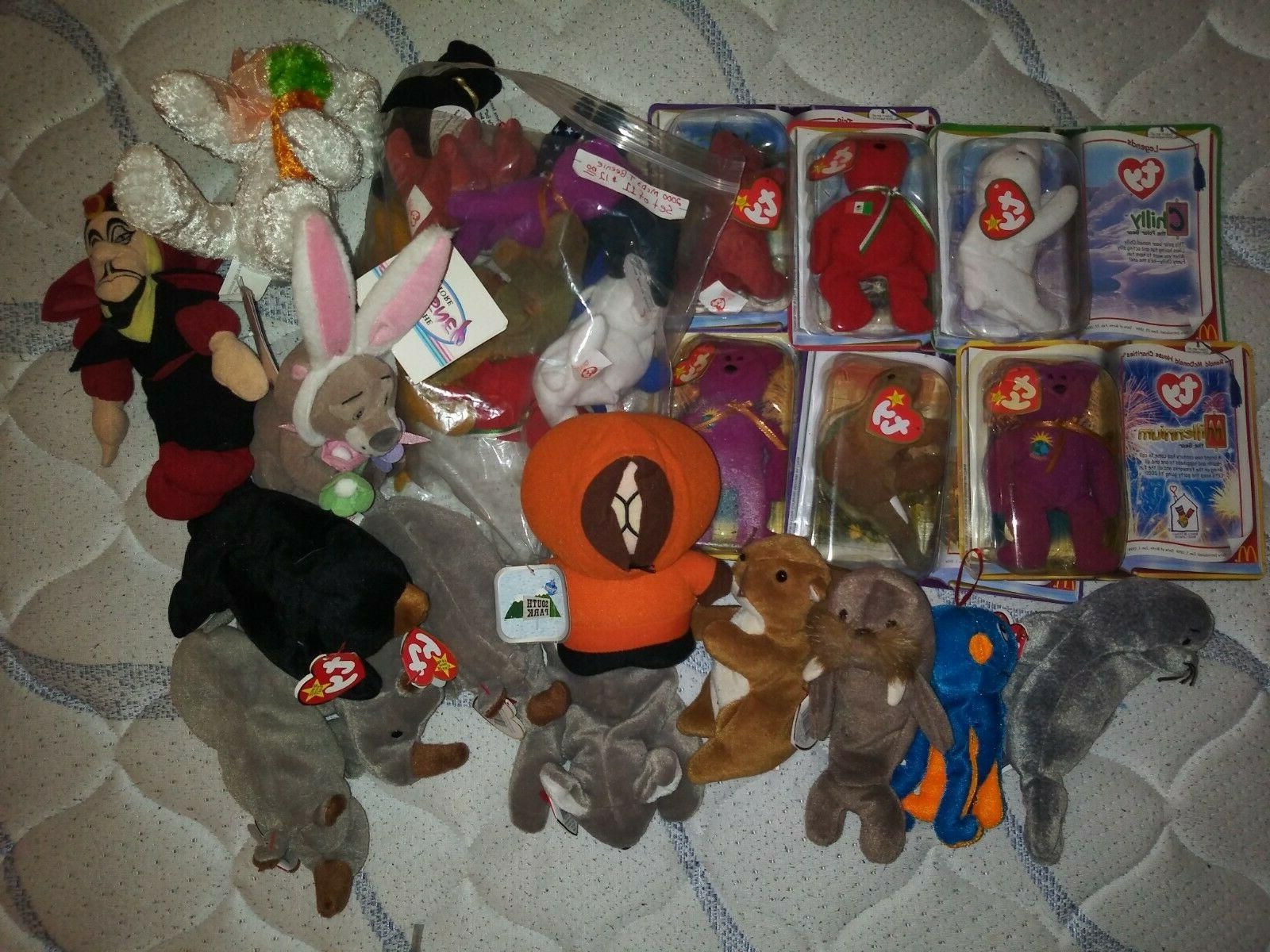 huge lot of 30 NEW Beanie Babies Disney,South Park stuffed a
