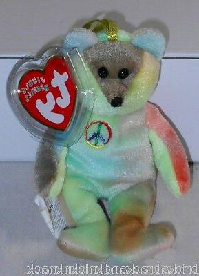 "TY JINGLE BEANIES  ""PEACE BEAR"" 5"" W/GOLD HANG TAG, CUTE TY-"