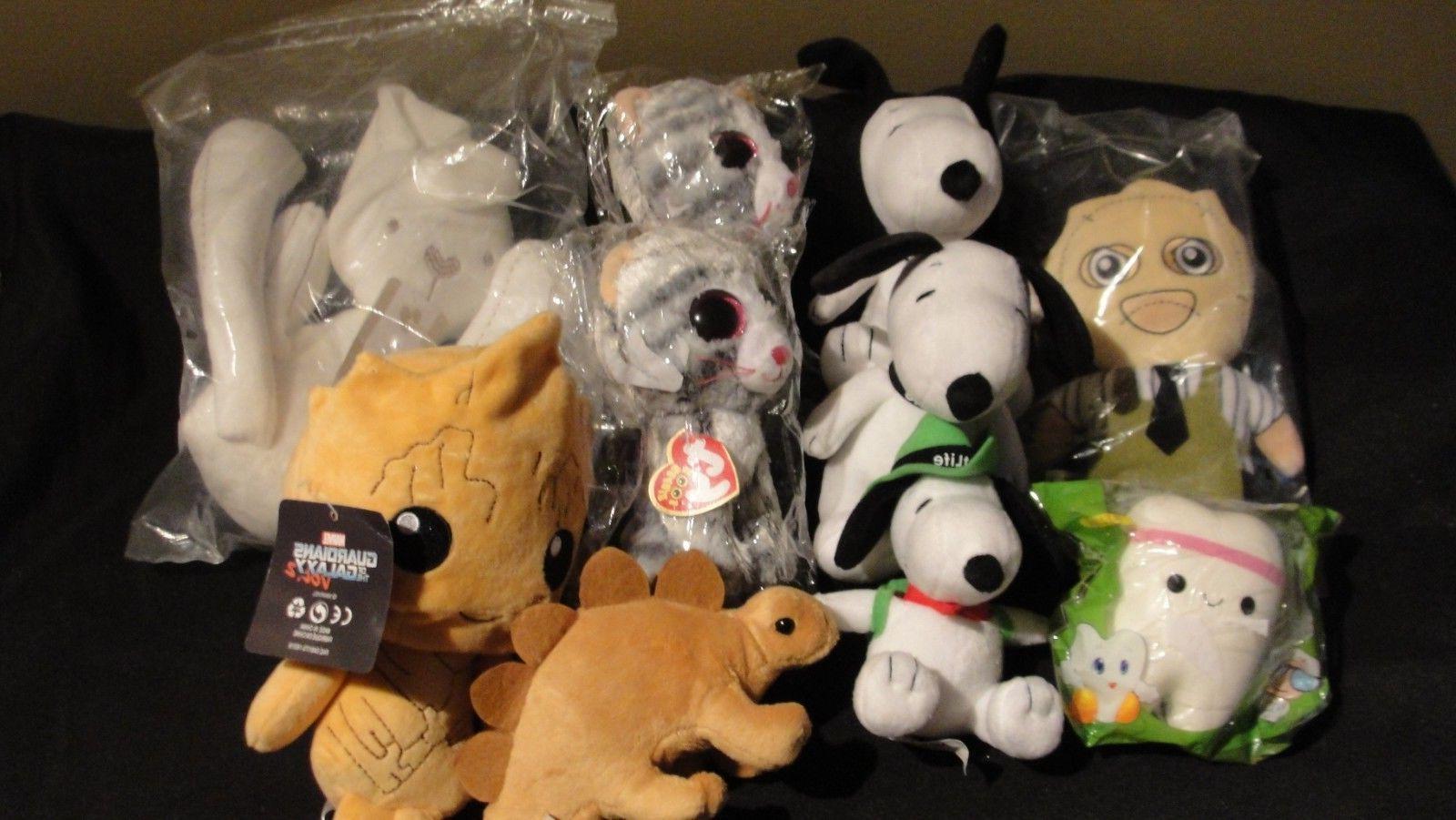 large lot of 10 stuffed animals plush