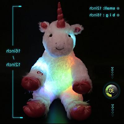 WEWILL LED Unicorn Stuffed Animals Luminous with
