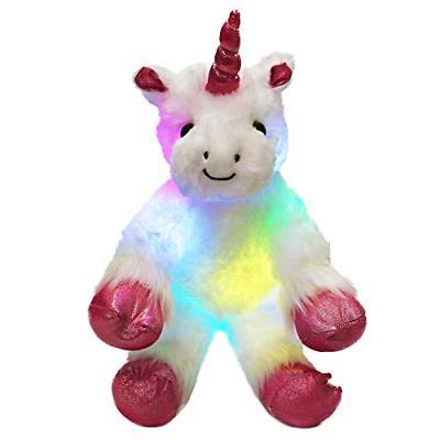 WEWILL LED Unicorn Stuffed Animals Light up Luminous with He
