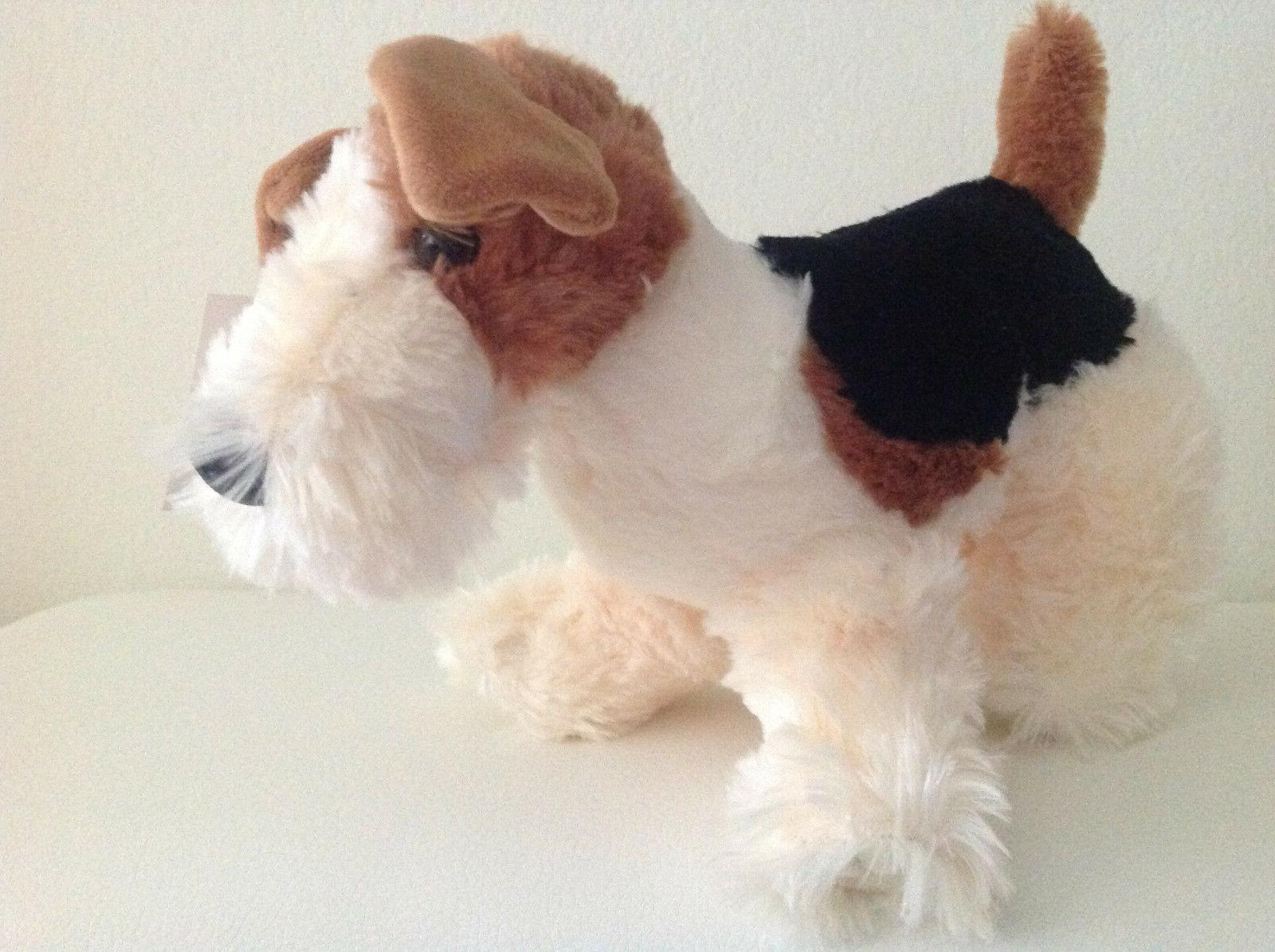 "12"" Life-Like Wire Fox Terrier Stuffed Animal Plush Dog Toy,"