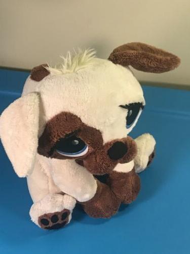 "MGA Rescue Animated Plush Dog 10"" White Brown Toy"