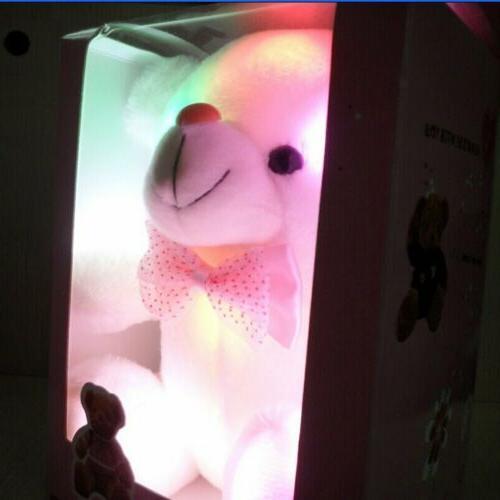 New LED Flash Bear Stuffed Plush Soft Kids Gift