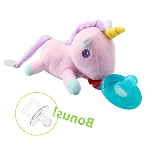 Baby Soothie Stuffed Animal Toy Meas... KINREX Pink Elephant Pacifier Holder